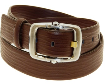 Men's Quality Brown Leather Belt In Gift Box (Style No.6004).