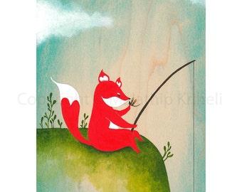 Fox Adventure 4 Gone Fishing - art print