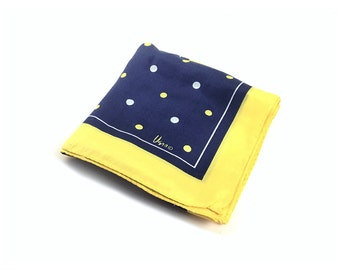 Vera scarf blue Scarf yellow scarf polka dot scarf silk scarf blue and yellow Women's Accessories Scarves Vintage Accessories Scarves