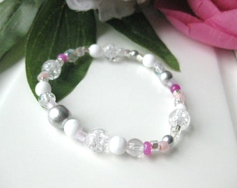 Girls Bracelet, Icy Silver, Pink and White beads, Large Bracelet, GBL 127
