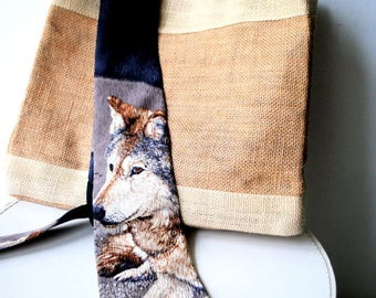 Arctic timber wolf. Vintage 90s, earth color silk necktie with a wolf , large profile print.