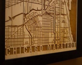 Chicago Marathon Map - Laser Engraved