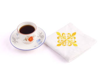 Organic cotton napkins white Set of 4 table napkins cloth Embroidery organic cotton Linens Dinner Napkins Best Selling Item