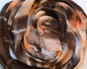 Rust Brown Tan Orange Women's Hand Dyed Chiffon Silk Scarf - 436
