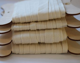Webbing in 10mm/15mm/20mm Widths 100% Organic Cotton