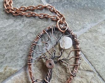 Tree Of Life Moon Oval Pendant Necklace - Antique Copper - Moonstone - Wire Wrapped