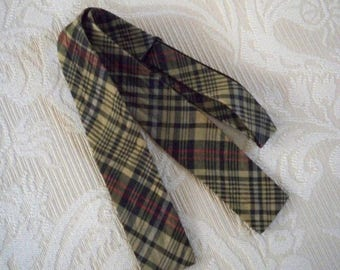 Vintage Men's Accessory Olive Green Madras Cotton Bow Tie