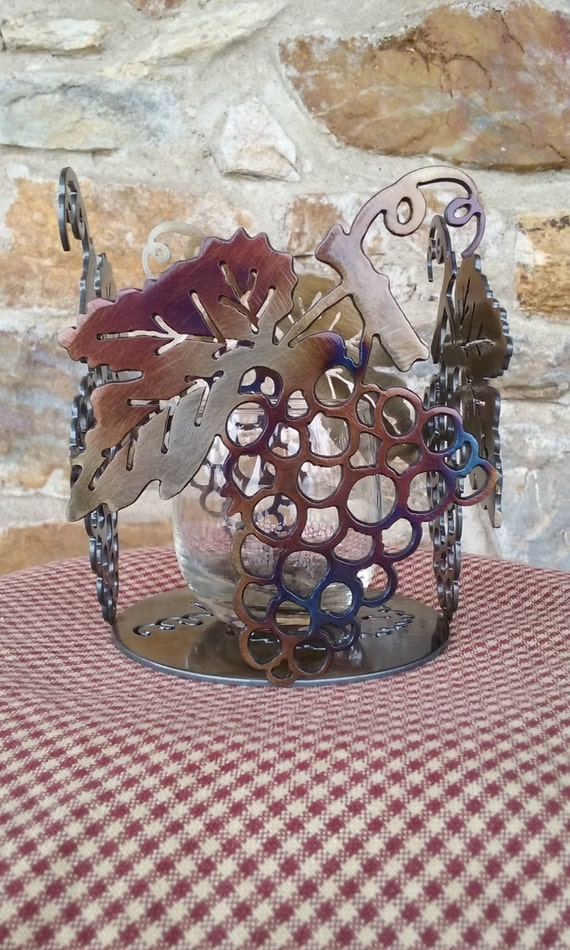Grape Cluster Votive Candle Holder,Table Centerpiece,Home Accent,Restaurant Decor,Home Decor,Gift for the Wine Lover,Vineyard,Metal Art