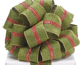 Green Ribbon with Metallic Gold and Red stripe in the center, Christmas ribbon, Tree topper ribbon, Gold wired ribbon, Green and Red Ribbon