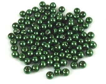 50 6 mm dark green Pearl effect glass beads