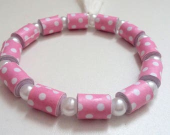 Pink and white paper beaded bracelet