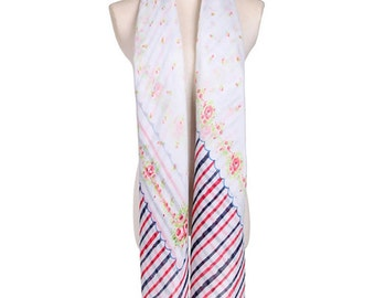 Womens Scarf, White Scarf,  Red Scarf, Floral Print Scarf, Chiffon Scarf, Voile Scarf, Cotton Scarf, Fashion Scarf