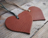 Rustic Leather Heart - Heart Tree Decoration - Leather Christmas Tree Ornament