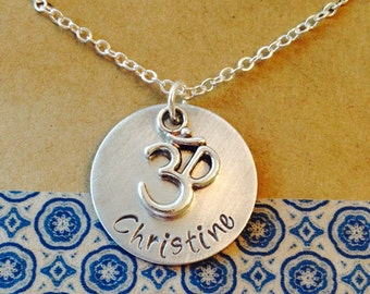 Ohm Yoga Charm Necklace, Om Personalized Yoga Necklace, Monogrammed Initial Jewelry, Om Name Necklace