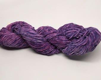Cotton Chenille Yarn - Hand dyed deep purple