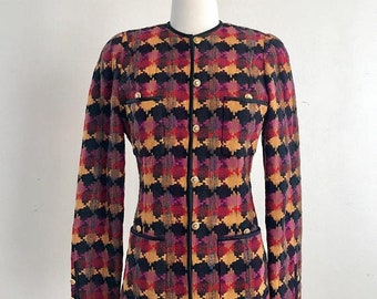 SHOP SALE Beautiful Jewel Tone Blazer by Carlisle - 80s 90s Womens Jacket Size Small