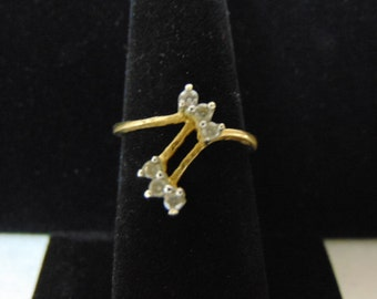 Womens Vintage Estate 14K Yellow Gold Ring W/ Diamonds, 2.5g E2593