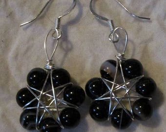 Seven Pointed Faerie Star Earrings in Banded Black Onyx