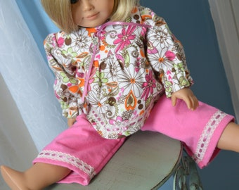 18 Inch Doll Clothes Two Piece Flannel Pajama Sleepwear Set by SEWSWEETDAISY