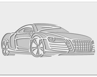 Wall stencil Audi R8 0454