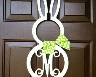 Custom UNFINISHED Easter Bunny MONOGRAM door hanger / BURLAP bow/ 24 inch/ chevron/Initial/wooden/front door decor