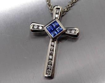 white gold cross necklace mens, vintage white gold diamond cross, mens cross pendant, sapphire diamond pendant celtic cross gift for him
