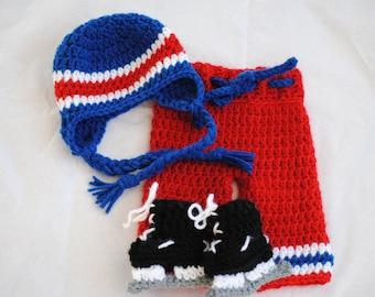 Newborn Hockey Uniform Prop/ Made to Order/ Hockey Uniform/ Baby Boy Prop/ Red White and Blue Prop/ Newborn Photo Prop/ Crochet Earflap Hat