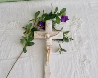 Crucifix, White Crucifix, Chalkware Cross, Jesus, White Cross, 1930s, Religious Relics, Religious Decor, Wall Decor