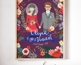 Unique wedding gift - Wedding gift ideas - Gift for her - Wedding illustration - Wedding portrait - Wedding gift - Couple portrait