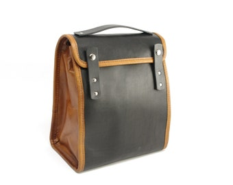 Black and Tan Executive Leather Lunch Bag (non-insulated) - CLEARANCE