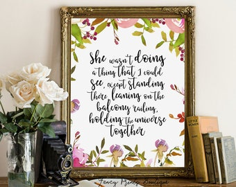 She Wasn't Doing A Thing, Holding the Universe, JD Salinger print, Salinger Printable art , Literary Quote,JD Salinge book printableQuote