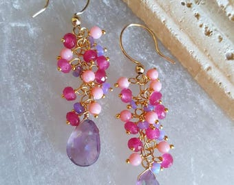15% Off Mystic Amethyst Pink Coral Lavendar Opal Cherry Red Quartz  Gemstone Cluster Earrings Gift for Her