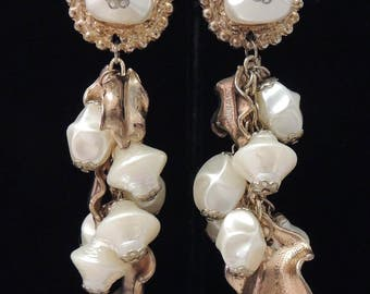 Vintage Pearl Earrings / Cascading Pearl Earrings / Dangle Drop Pearl Earrings / Bridal Earrings / Pearl Duster Earrings / Wedding Earrings