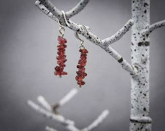 Garnet Earrings Garnet Dangle Earrings Minimal Earrings Beaded Earrings Dainty Earrings January Birthstone Crystal Earrings Silver Earrings