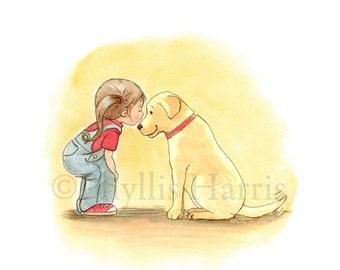 Little Girl and Her Dog - Labrador retriever and little girl art