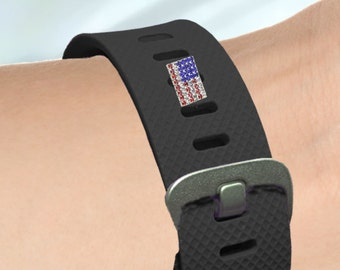 Fitness-Watch Charm, USA Crystal Flag; Personalize your watchband with style and flair. Fitbit Jewelry