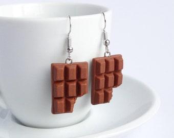 Cute milk chocolate bar dangle earrings candy sweet cute miniature food sweettooth jewelry handmade polymer clay