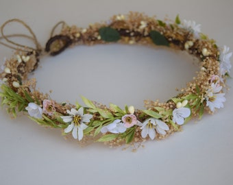 Wild Daisy & Pink Rosebud Flower Crown - Bridal Halo -Baby's Breath Flower Girl Halo -Photo Prop - Wedding Flower Crown with Rosebuds