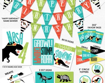 Dinosaur Pool Party Printables | Dinosaur Digital Party Decor | Dinosaur Banner, Favor Tags, Topper, Party Signs & Wraps