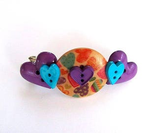 Full of Hearts Button Barrette FREE US Shipping