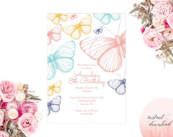 printable butterfly party invitation, butterfly birthday invitation, butterfly invitation, birthday invitation