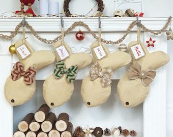 Personalized Fish Christmas Stockings, Burlap Christmas Stocking, Customized Christmas Stocking