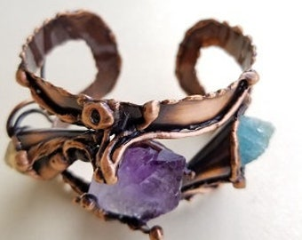 Copper Bracelet with Aquamarine, Citrine and Amethyst