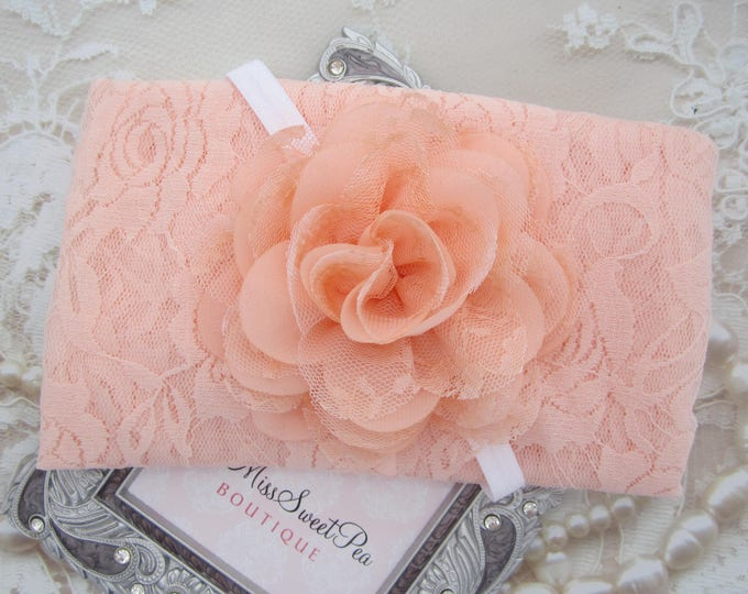 Light peach stretch lace swaddle wrap AND/OR Peach Chiffon & Lace Flower headband for newborn photo shoots, bebe foto, by Lil Miss Sweet Pea