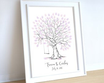 wedding tree guest book, finger print tree with swing, wedding tree printable, wedding tree, wedding guest book, wedding tree swing, romance