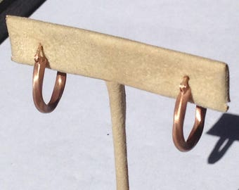 14kt Rose Gold Plated Satin Finish Twisted Hoops