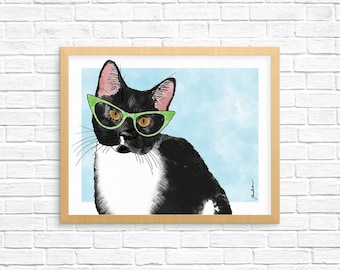 Cat Art Print, Tuxedo Cat Art, Cat Wall Art, Cat Lover Gift, Pet Portrait, Dorm Decor, Home Decor, Office Decor, Nursery Art