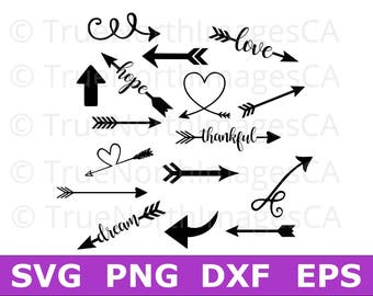 Arrow SVG / Arrow Clipart / Heart Arrow SVG / Tribal Arrow SVG / svg files for Cricut / Silhouette Files