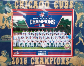 Chicago Cubs 2016 World Series Champions matted team photo with laser engraving