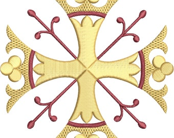 Crown Cross 3x3in Machine Embroidery Design for Vestments, Liturgical or Church Linens